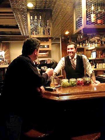 Robert Adamson describing his cocktails to Jeff
