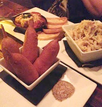 Mini Corn Dogs, Chorizo Meat balls and Duck Confit Mac + Cheese