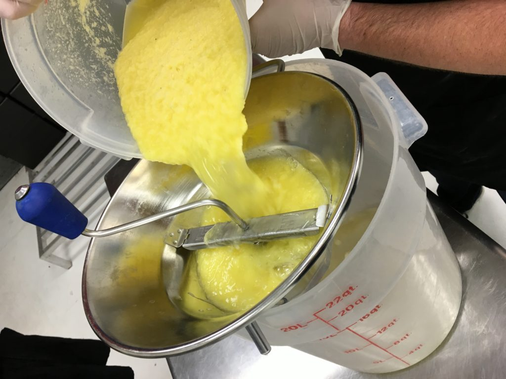 Using fresh pineapple for the Pineapple Sorbet