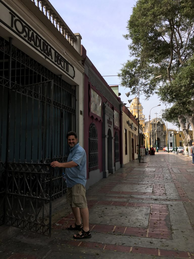 Jeff is heading into Cafe Bisette in the Barranco District of Lima
