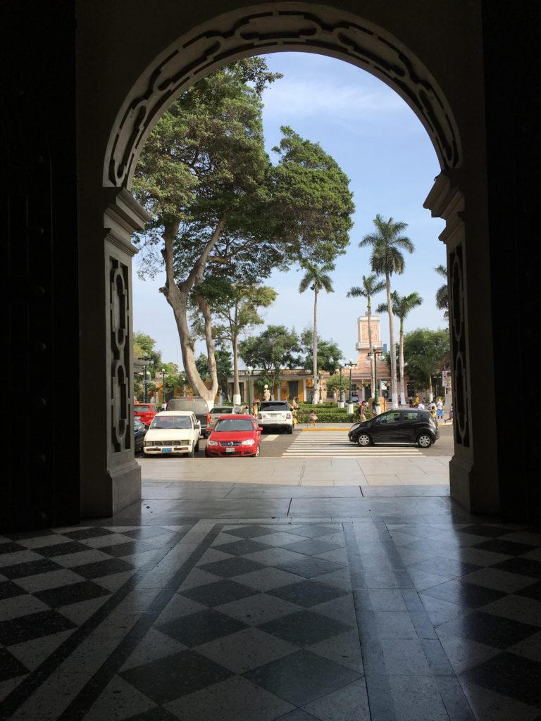 A view onto the main plaza of Barranco