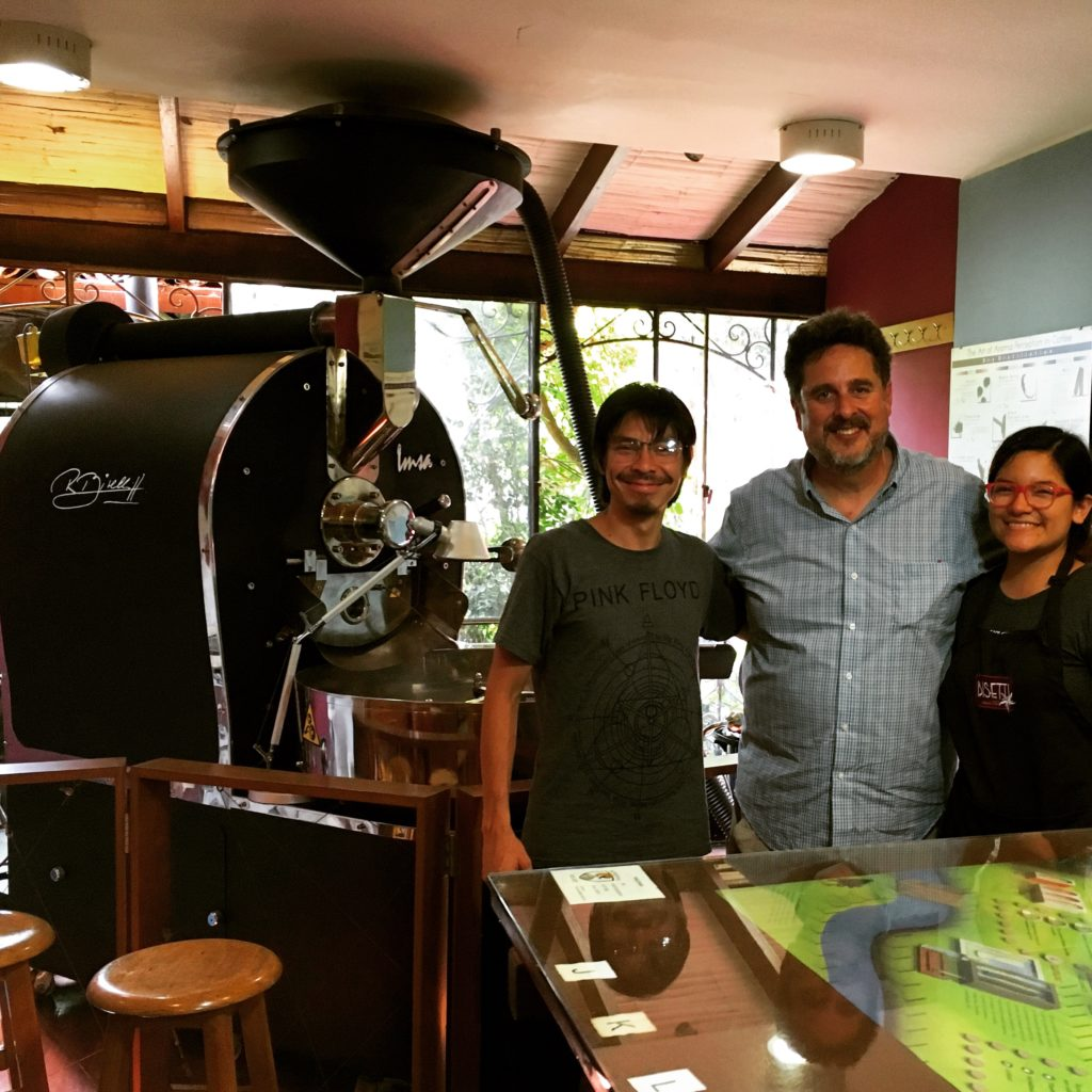 Visiting and Cafe Bisetti and tour of roasting room. Listed to Radio Feature