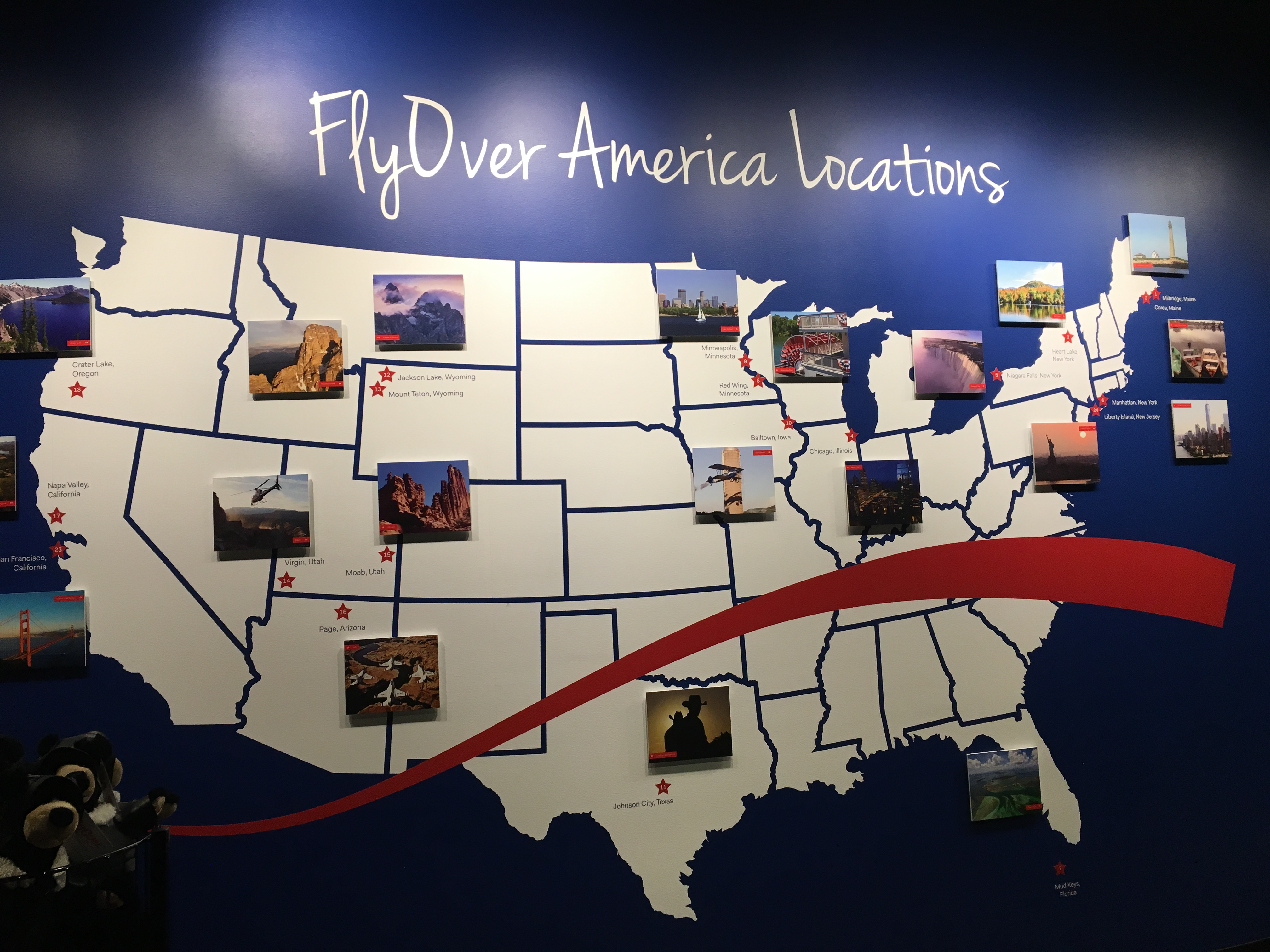 the destination map for flyover america ride